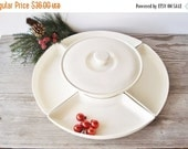 ON SALE Vintage Ceramic Lazy Susan, Creamy White Lazy Susan Dishes, Retro Appetizer Dishes, Cocktail Party Tableware