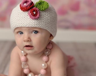 Baby Girl Photo Prop, Baby Girl Spring Hat,Newborn Photo Prop, Newborn Girl Hat,White Baby Girl Hat with Flowers, Baby Girl Hat