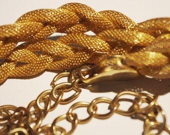 Vintage Gold Braided Mesh & Brass Belt 1980s