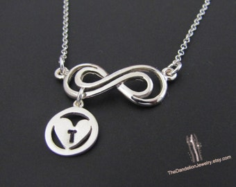 Personalized Infinity Necklace,  Initial Necklace, Sterling Silver Necklace, Jewelry, Gift
