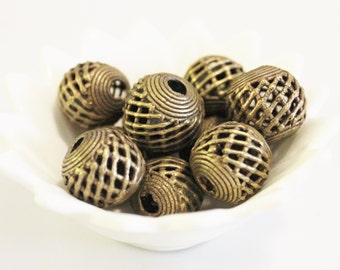 African Brass Cage Beads, Ethnic Spacer Beads, Jewelry Supplies (Z20)