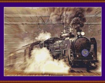Locomotive Cross Stitch Pattern