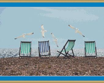Sea Gulls And Deck Chairs Cross Stitch Pattern