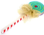 Fake Lollipop Whimsical Decoration Blue and Green Lollipop Wand Costume Accessory