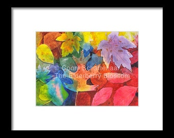 Gift Idea Instant Print Download 5x7 Print from Watercolor Painting Autumn Leaves for matting and framing
