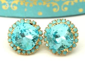 Turquoise Stud Earrings Blue Bridal Earrings Blue Green Earrings Large Stud Earrings Swarovski Bridesmaid Earrings Wedding Jewelry TQ50S