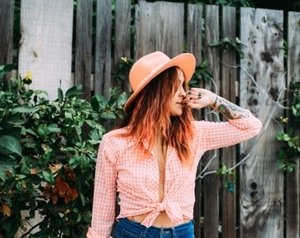 vintage peach check button up | small | the picnic top