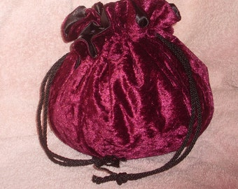 Burgundy Velvet Drawstring Bag