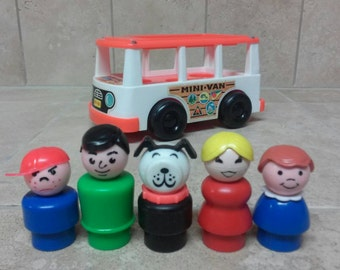 Vintage Fisher Price Little People Play Family Mini-Bus