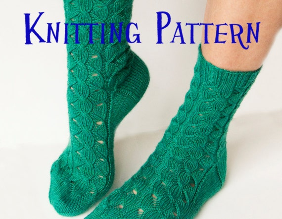 Knitting Pattern Women s Socks : PDF Knitting Pattern Waterfall Socks Womens Cable and Lace