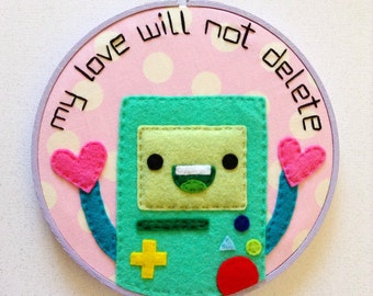 Adventure Time BMO Embroidery--7 inches