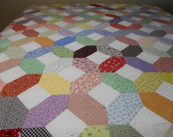 "98"" x 108"" X's and O's Quilt 1930 Reproduction fabric QUILT TOP with binding ONLY"