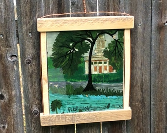 Antique Reverse Glass Painting in hand made frame.