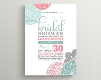 Printable Bridal Shower Invitation - Modern flower design featuring mint, pink & grey (BR99)