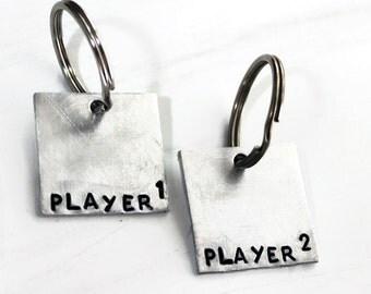 2 Keychains, Player 1 and Player 2, Gamer Best Friend Key Chains, Geeky Gamer Girl Boyfriend Gift, Video Game, Nerdy Gift Idea