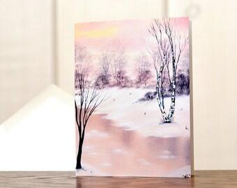 Winter wonderland Christmas cards, nature lover Christmas card set, winter scene christmas card, winter landscape painting, glittered card