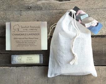 Soap Gift Set - Soap & lip balm, gift bag, valentine gift, Mother's Day Gift, Hostess Gift, Holiday Gift, Teacher gift