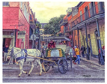 New Orleans French Quarter Horse and Buggy 8x10 16x20 Giclee Print - NOLA Carriage Ride - Korpita