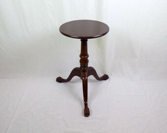 Vintage Ball Claw Clawfoot Mahogany Tripod Wood Tea Candle Table - Mid Century Chippendale Reproduction Furniture Victorian Style Regency