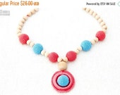 25% off Teething Necklace - coral, turquoise - crochet sling necklace, teething wooden ring