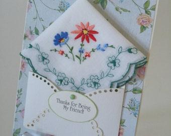 Dainty Vintage Embroidered Handkerchief Green Blue Friend Bridal Shower Gift Retirement Just Because Graduation Keepsake Greeting Hanky Card