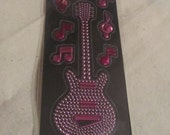 Purple Guitar & Musical Notes Stickers
