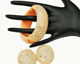 Rhinestone Celluloid bracelet and earrings set Peach  hinged clamper bangle