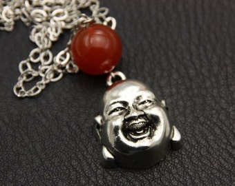 Bouddha Necklace, stainless steel chain