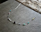 Handmade Beaded Necklace Sterling Silver Chain Delicate Gemstone Short Necklace Boho Jewelry Layering Dainty by Letemendia