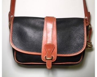 Vintage Dooney & Bourke Bag Black and Brown Dooney and Bourke Crossbody Bag Satchel Medium Sized Leather Handbag Equestrian Purse