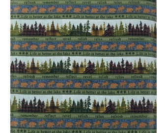 Better at the Lake Trees and Animals Green Fabric by One S1ster Designs