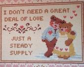 Vintage Needlepoint 1980s ,Teddy Bear Love,  Baby Bedroom Decor, Framed Needlework, Wall Hanging, Baby Nursery Decor, Framed Cross Stitch