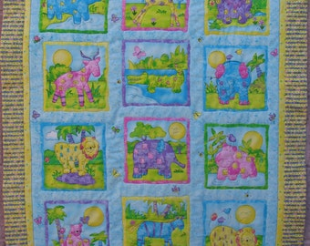 Handmade Jungle Animals Baby Toddler Crib Quilt with Organic Cotton Batting Baby Shower Gift