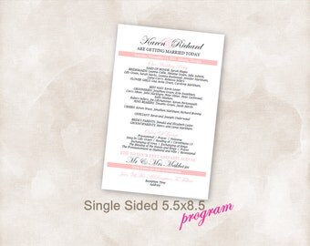 FINISHED Wedding reception Program 5.5 x 8.5 blush pink All you do is print!!