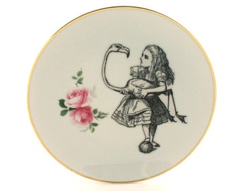SALE Recycled Alice in Wonderland with Flamingo Bird on Vintage Porcelain Plate Home Decor White Romantic