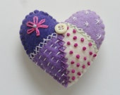 Purple/Lavender Felt Patchwork Heart