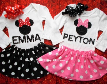 Minnie Mouse Birthday outfit Dress up cake smash first Pink RED Black Skirt Bodysuit Girl Personalized NB 3 6 9 12 18 24 3 4 5 Toddler SALE