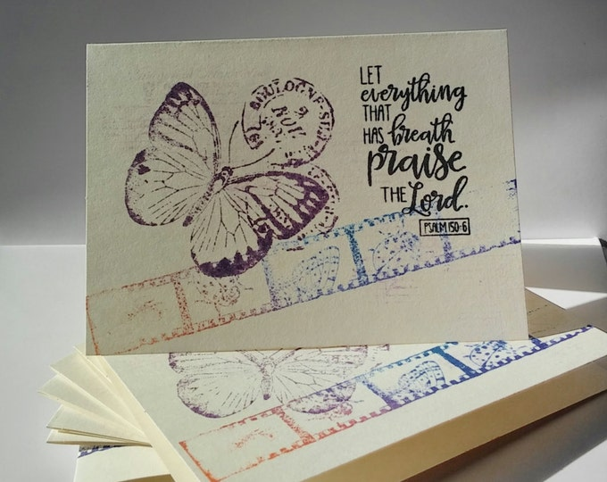 8 Christian Notecards, Handmade, Psalm 150:6, FLAT CARDS, Butterfly Let everything that has breath praise the Lord, 20percent off sale