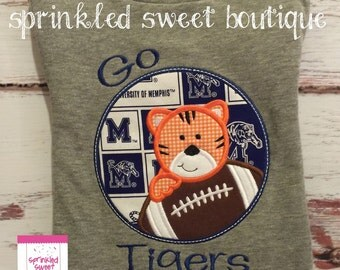 Custom Applique Memphis Tigers Football College Team SEC Football Sports Shirt -Short or Long Sleeve Onesie Baby Boy Girl