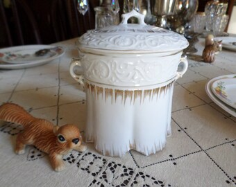 Lovely Vintage Embossed China Canister/Extra Large Sugar Bowl and Lid-Gold Trim