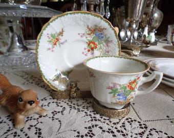 Vintage Myott Staffordshire England-Devon- Multi Colored Floral Teacup and Saucer Set-Rose Boquet