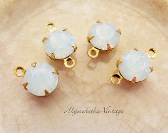 White Opal 8mm Round Swarovski Rhinestone in Brass Prong Drop or Connector Settings - 4