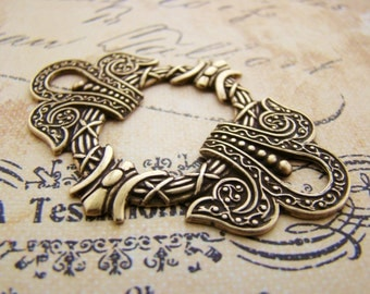 Large Ornate Edwardian Antiqued Brass OX Stamping Connector Jewelry Finding Embellishment 55mm - 2