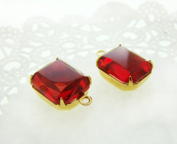 Red Glass Stone : Vintage mm glass octagon ruby red stone rhinestone