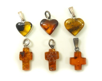Hand Carved Amber Baltic CROSS & HERAT- Yellow - Cognac - Cherry - size  S-slim - 6pcs available