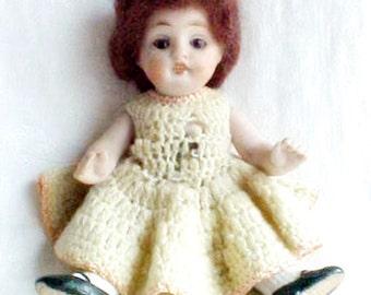 "Antique Kestner German Doll - All Bisque Porcelain - 150 3/0 - circa 1900 5.5"" - Molded Socks Chubby Legs, Brown Sleep Eyes - Original Label"