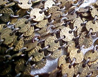 Vintage Disk and Link Chain Supply - Raw Brass Alloy Metal - by the YARD - Stamp Embossed 4mm Round Discs - Necklace Bracelet component