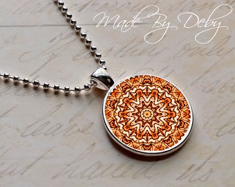 Earthy Mandala Round Pendant Necklace Silver Chain Choice of Design