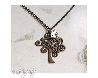 """Tree of Life Pendant Birdie Charm Necklace Antiqued Brass 18"""" Chain"""