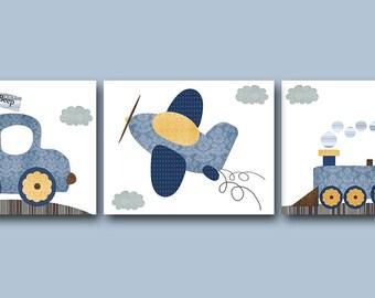 Yellow Navy Blue Gray Car Train Plane Canvas Wall Art Nursery Art Print Childrens Wall Art Baby Boy Nursery Art Nursery Decor Boy set of 3